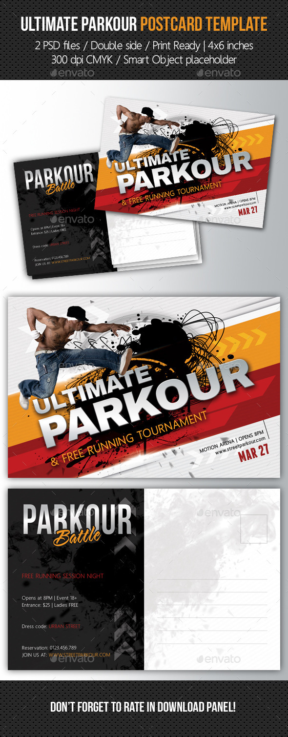 GraphicRiver Ultimate Parkour Postcard Template 10577666