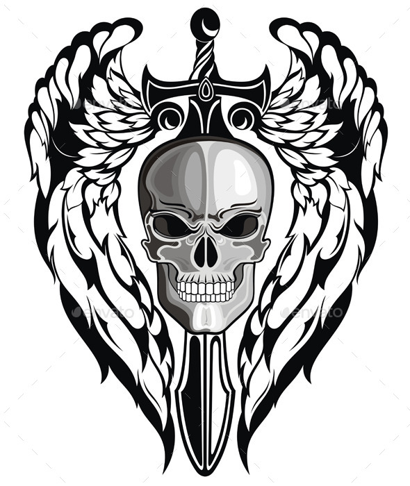 GraphicRiver Winged Skull with Sword 10577832