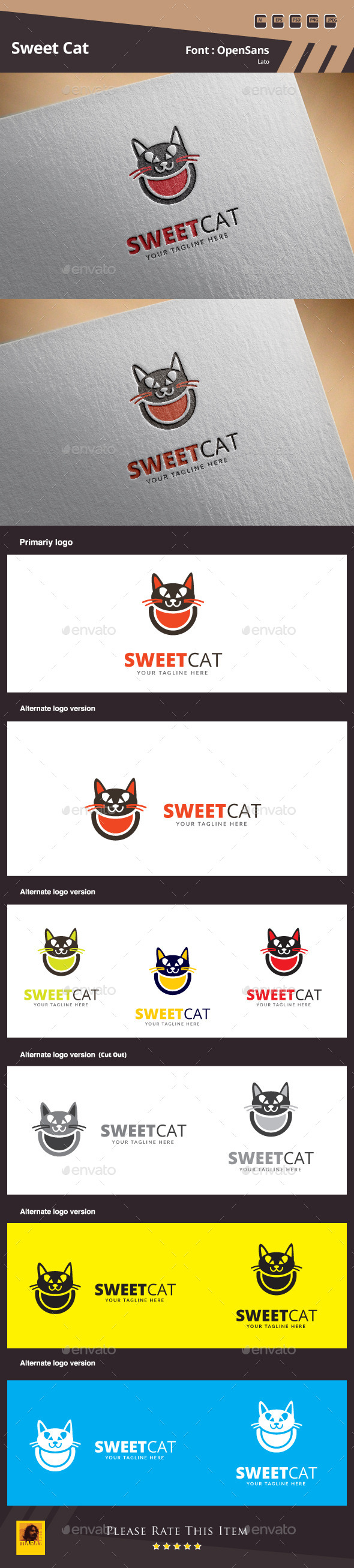 GraphicRiver Sweet Cat Logo Template 10578019