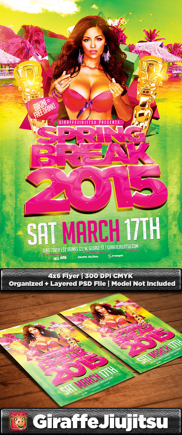GraphicRiver Spring Break v3 Flyer Template 10578100