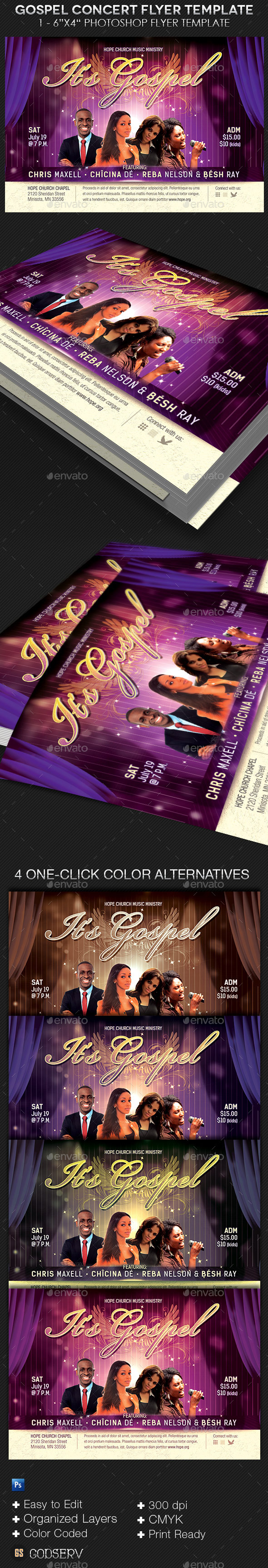 Gospel Concert Church Flyer Template - Church Flyers