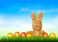Holiday Easter background with straw rabbit and easter eggs. - PhotoDune Item for Sale