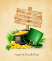 Saint Patrick's Day background with a sign, clover leaves, - PhotoDune Item for Sale