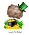 Saint Patrick's Day background with a sign, clover leaves, green hat and gold coins - PhotoDune Item for Sale