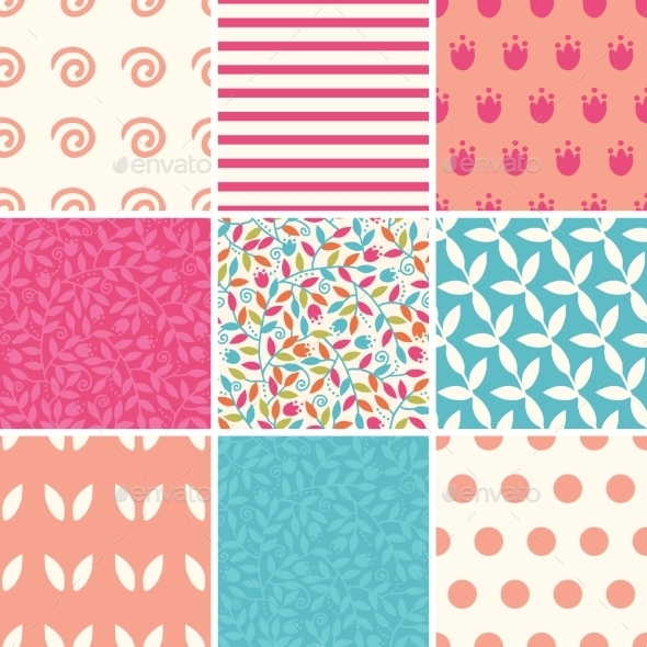 GraphicRiver Colorful and Floral Patterns 10578408