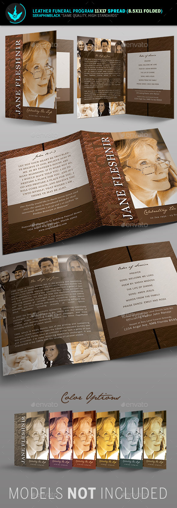 GraphicRiver Leather Funeral Program Template 10579067