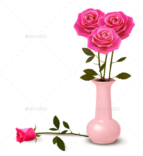 GraphicRiver Holiday Background with Pink Roses in a Vase 10579139