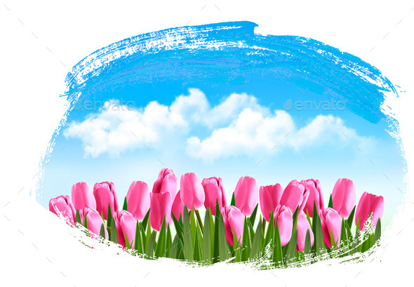 GraphicRiver Spring Background with Pink Tulips 10579143