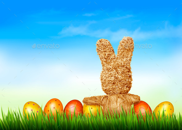 GraphicRiver Holiday Easter Background with Straw Rabbit 10579184