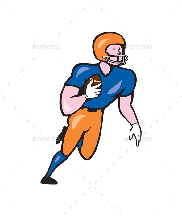 GraphicRiver American Football Player Rusher Run Cartoon 10579854