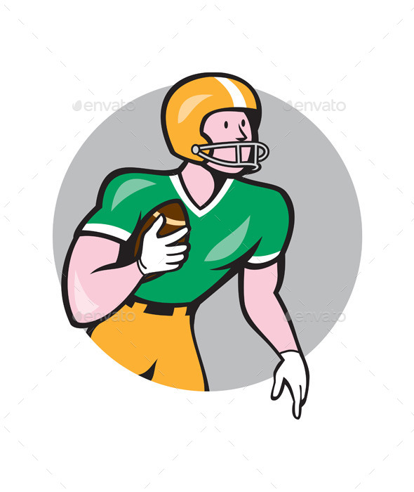 GraphicRiver American Football Player Rusher Circle Retro 10579857