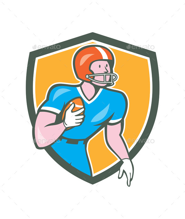GraphicRiver American Football Player Rusher Retro Shield 10579864