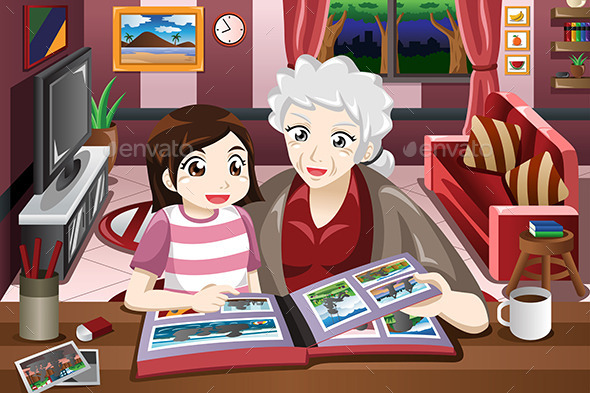 GraphicRiver Grandma and Granddaughter Viewing Photo Album 10580127