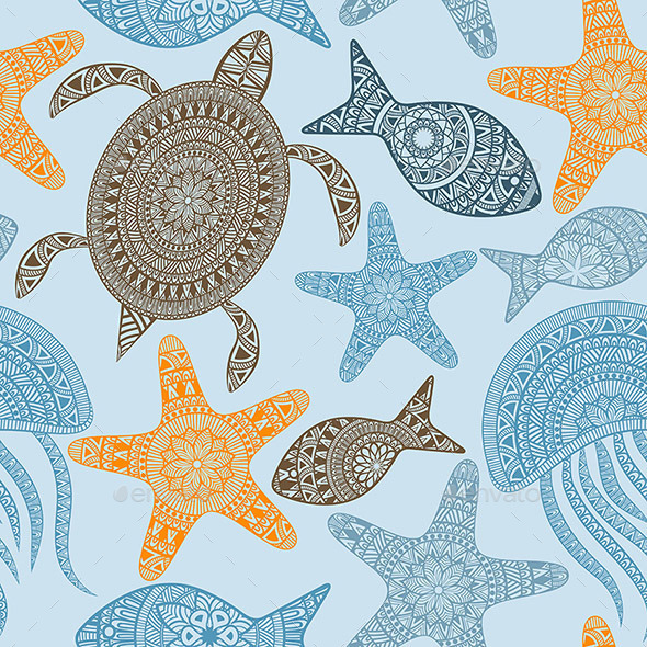 GraphicRiver Seamless Pattern with Turtles 10580145