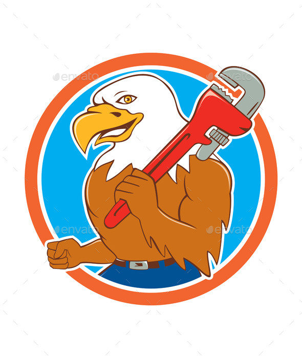 GraphicRiver Bald Eagle Plumber Monkey Wrench Circle Cartoon 10580236
