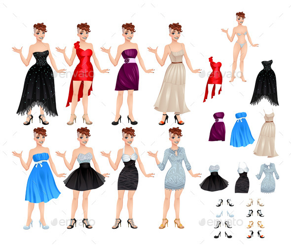 GraphicRiver Female Avatar with Dresses and Shoes 10580237