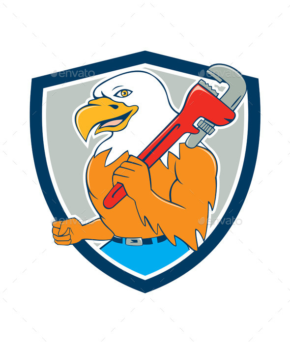 GraphicRiver Bald Eagle Plumber Monkey Wrench Shield Cartoon 10580242