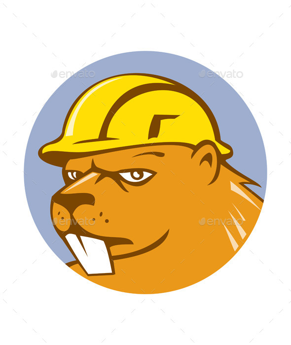 GraphicRiver Beaver Construction Worker Circle Cartoon 10580246