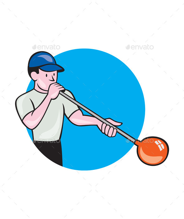 GraphicRiver Glassblower Glassblowing Cartoon Circle 10580268