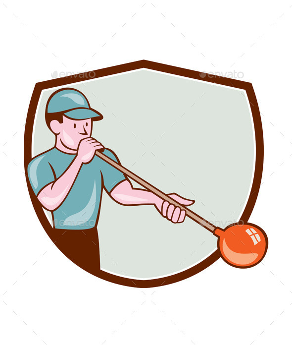 GraphicRiver Glassblower Glassblowing Cartoon Shield 10580276
