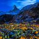 Aerial View on Zermatt Valley and Matterhorn Peak at Dawn, Switz - PhotoDune Item for Sale