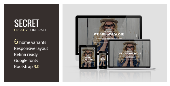 Secret - Creative One Page HTML5 Template - Creative Site Templates