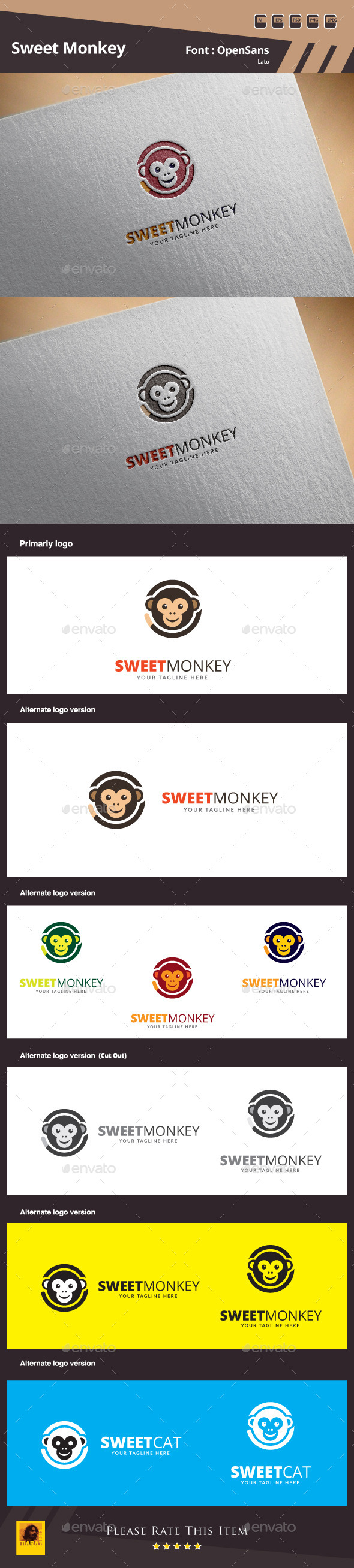 GraphicRiver Sweet Monkey Logo Template 10581245