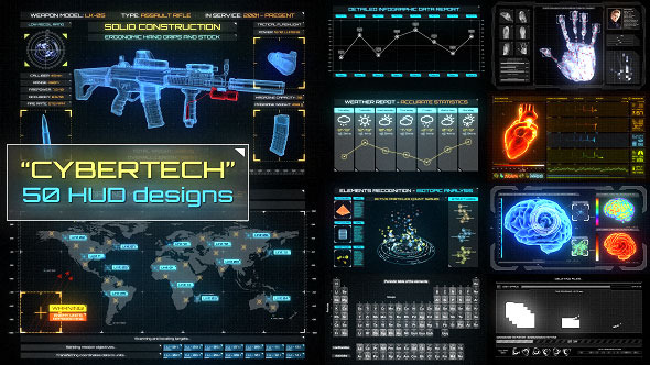 CyberTech HUD Infographic Pack (Infographics)