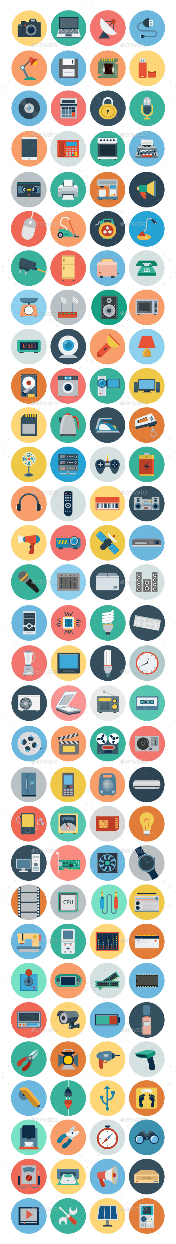 GraphicRiver 120& Electronics Flat Icons 10581937