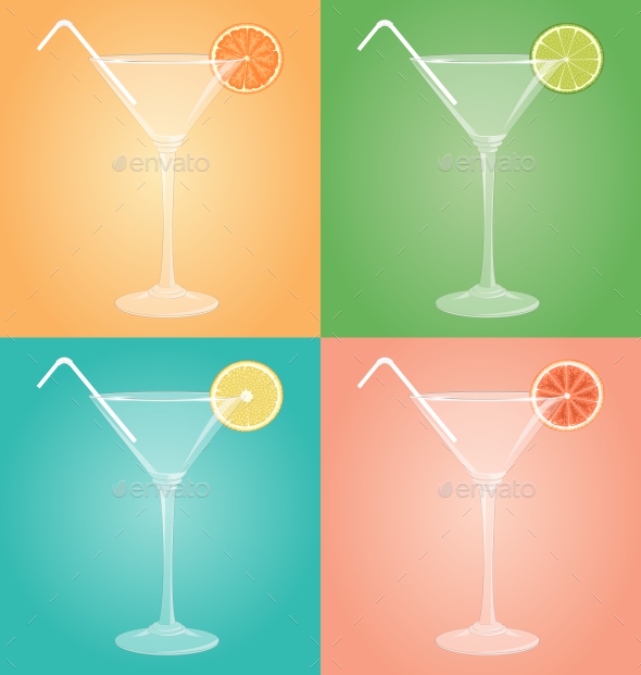 GraphicRiver Empty Martini Glasses with Citrus 10582068
