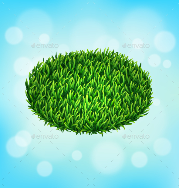 GraphicRiver Green Grass Oval on Sky Background 10582226