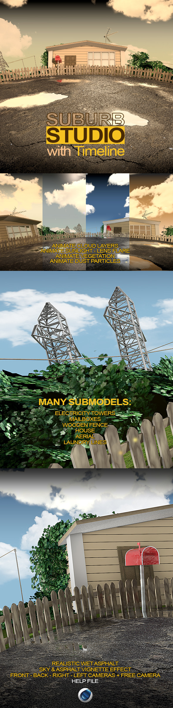 3DOcean C4D Suburb Render Setup 10582507