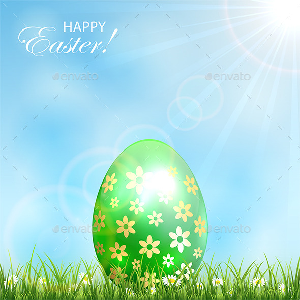 GraphicRiver Green Easter Egg in Grass 10582620
