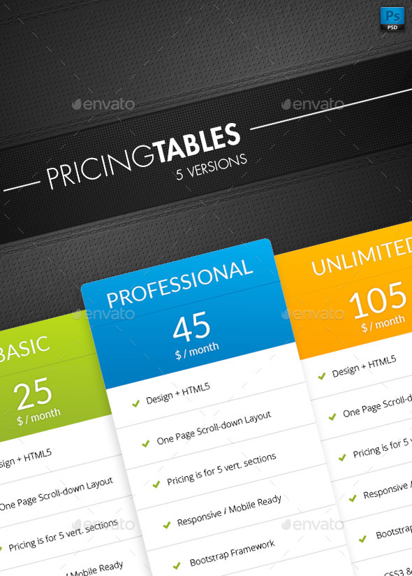 GraphicRiver Pricing Table 10582838