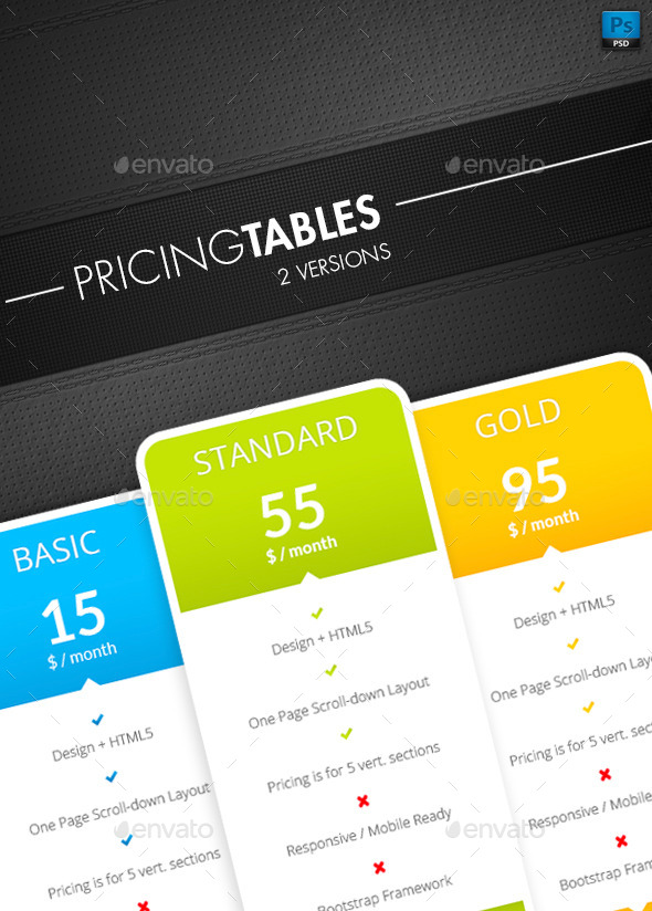 GraphicRiver Pricing Tables 10582846