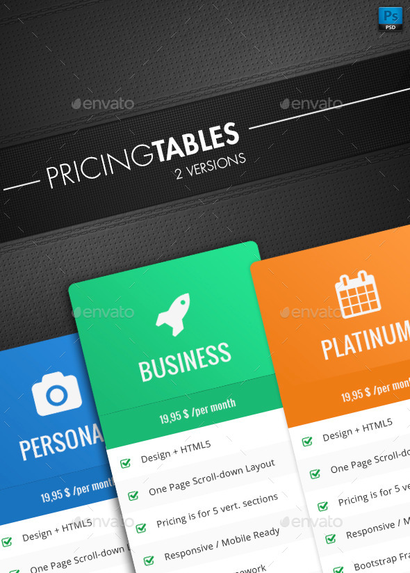 GraphicRiver Clean Pricing Tables 10582894