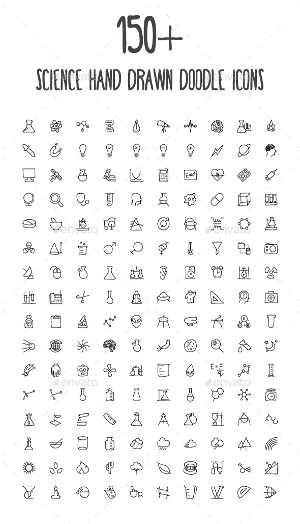 GraphicRiver 150& Science Hand Drawn Doodle Icons 10583345
