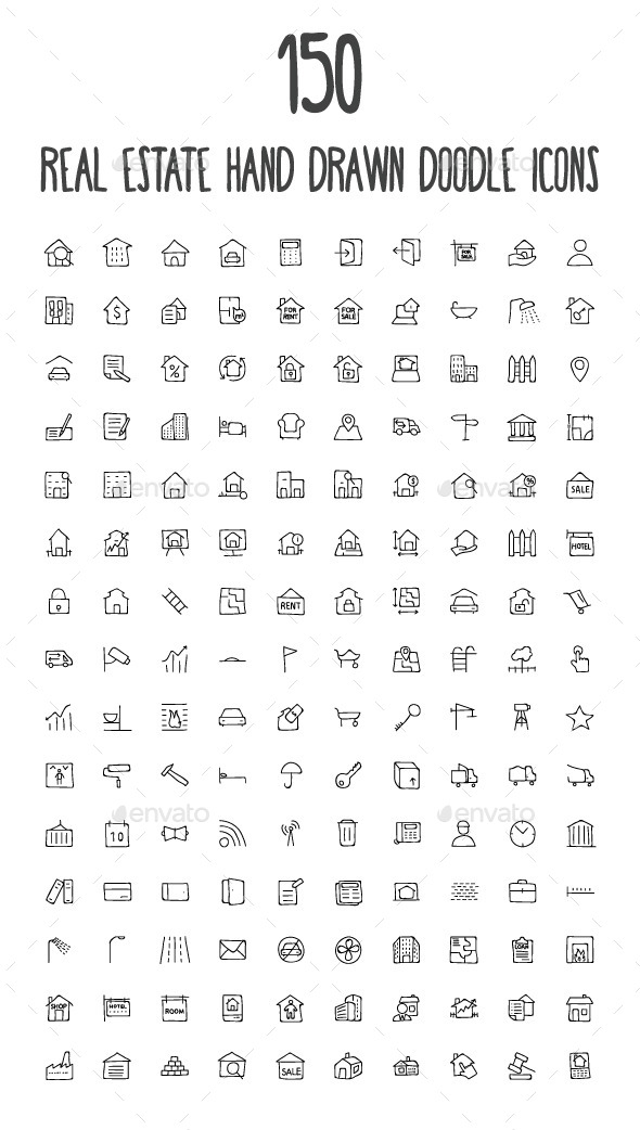 GraphicRiver 150 Real Estate Hand Drawn Doodle Icons 10583376