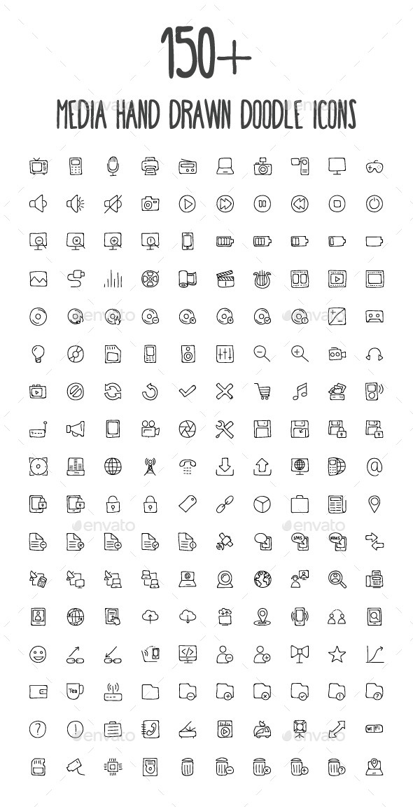 GraphicRiver 170 Media Hand Drawn Doodle Icons 10583388