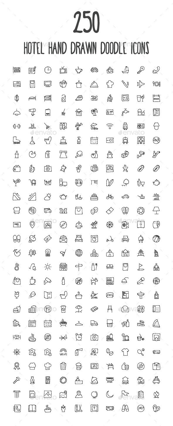 GraphicRiver 250 Hotel and Restaurant Doodle Icon 10583402