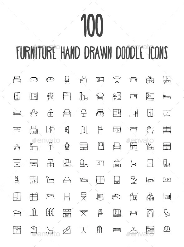 GraphicRiver 100 Furniture Hand Drawn Doodle Icon 10583415