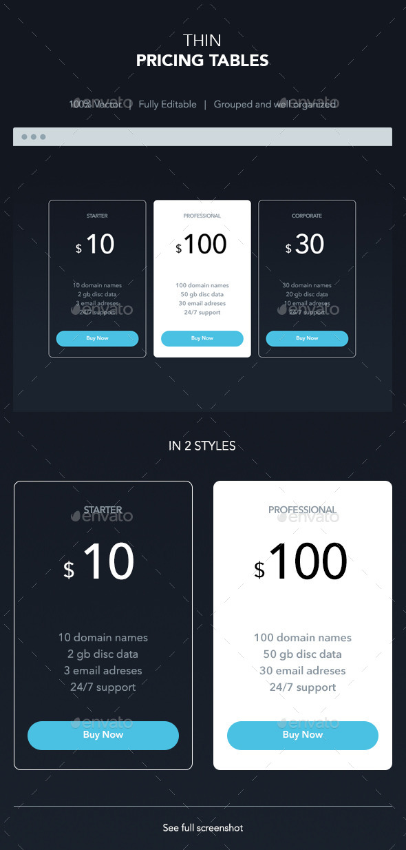 GraphicRiver Thin Pricing Tables 10583425