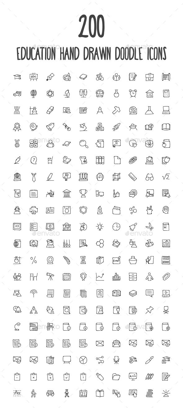 GraphicRiver 200 Education Hand Drawn Doodle Icon 10583435