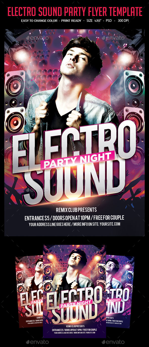 GraphicRiver Electro Sound Party Flyer Template 10583441