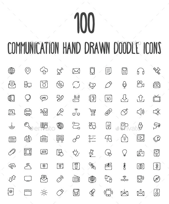 GraphicRiver 100 Communication Hand Drawn Icons 10583446