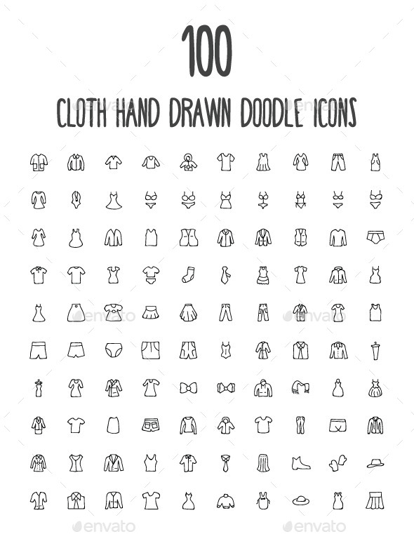 GraphicRiver 100 Cloth Hand Drawn Doodle Icons 10583541