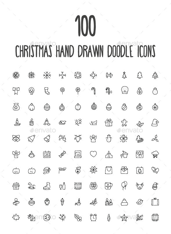 GraphicRiver 100 Christmas Hand Drawn Icons 10583718