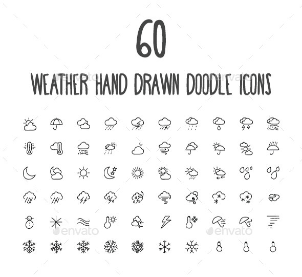 GraphicRiver 60 Weather Hand Drawn Doodle Icons 10583835