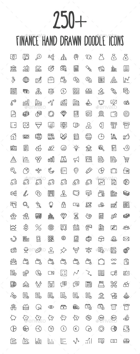 GraphicRiver 250& Finance Hand Drawn Doodle Icons 10583843
