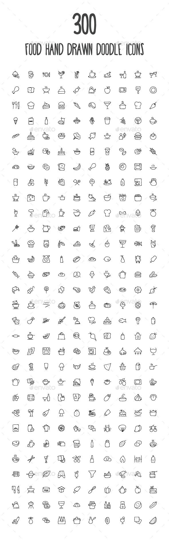 GraphicRiver 300 Food Hand Drawn Doodle Icons 10583967